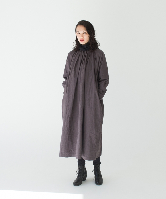 Nest Robe X Asami Usuda Cotton Ramie Two Way Smock Dress In Charcoal Gray Nest Robe International Online Store